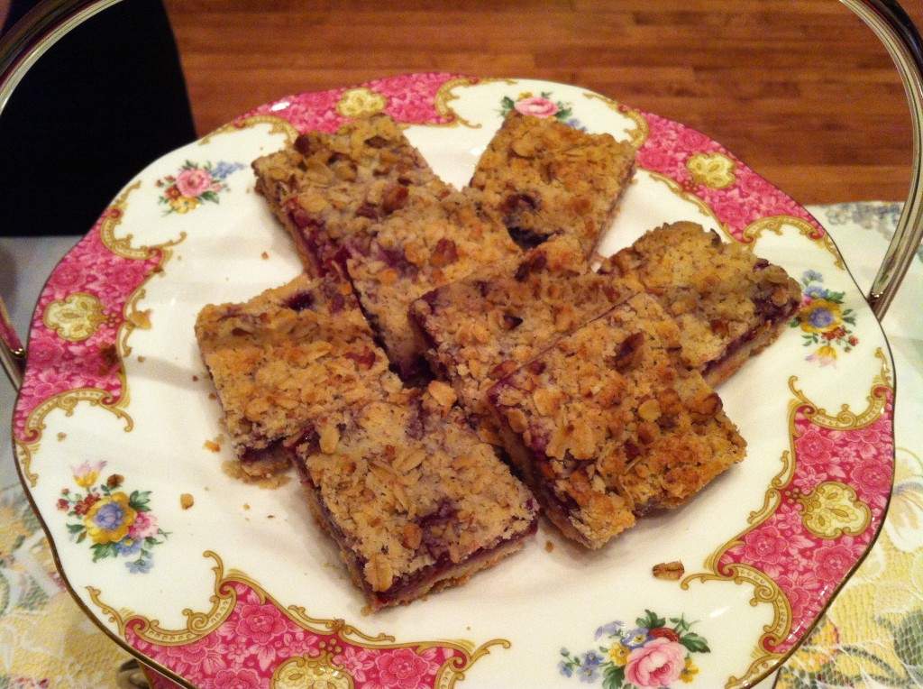 When having tea at The Potted Geranium in Greensboro, be sure to try the delicious raspberry pecan streusel bars. My favorite!