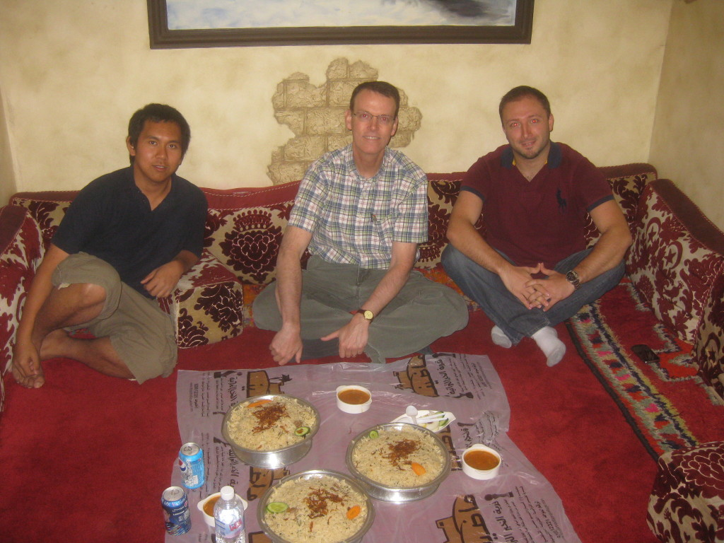 Me and my colleagues eating a traditional middle eastern meal at a fantastic restaurant in Dammam, Saudi Arabia.