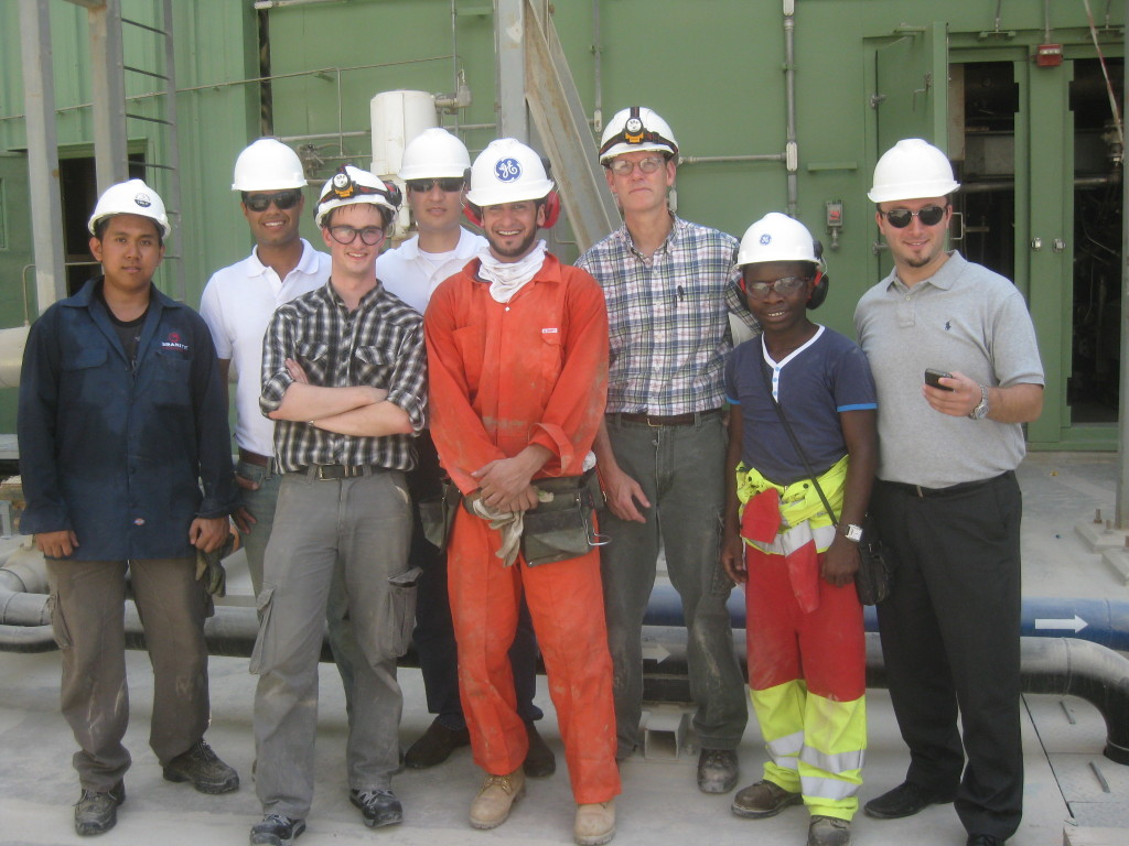This group picture taken at the Qurayyah plant near Dammam, is good testament to how nationally diverse the GE work force is with Mexico, Palestine, Philippine, Nigeria, Scotland, Saudi, United States, and the Dominican Republic.