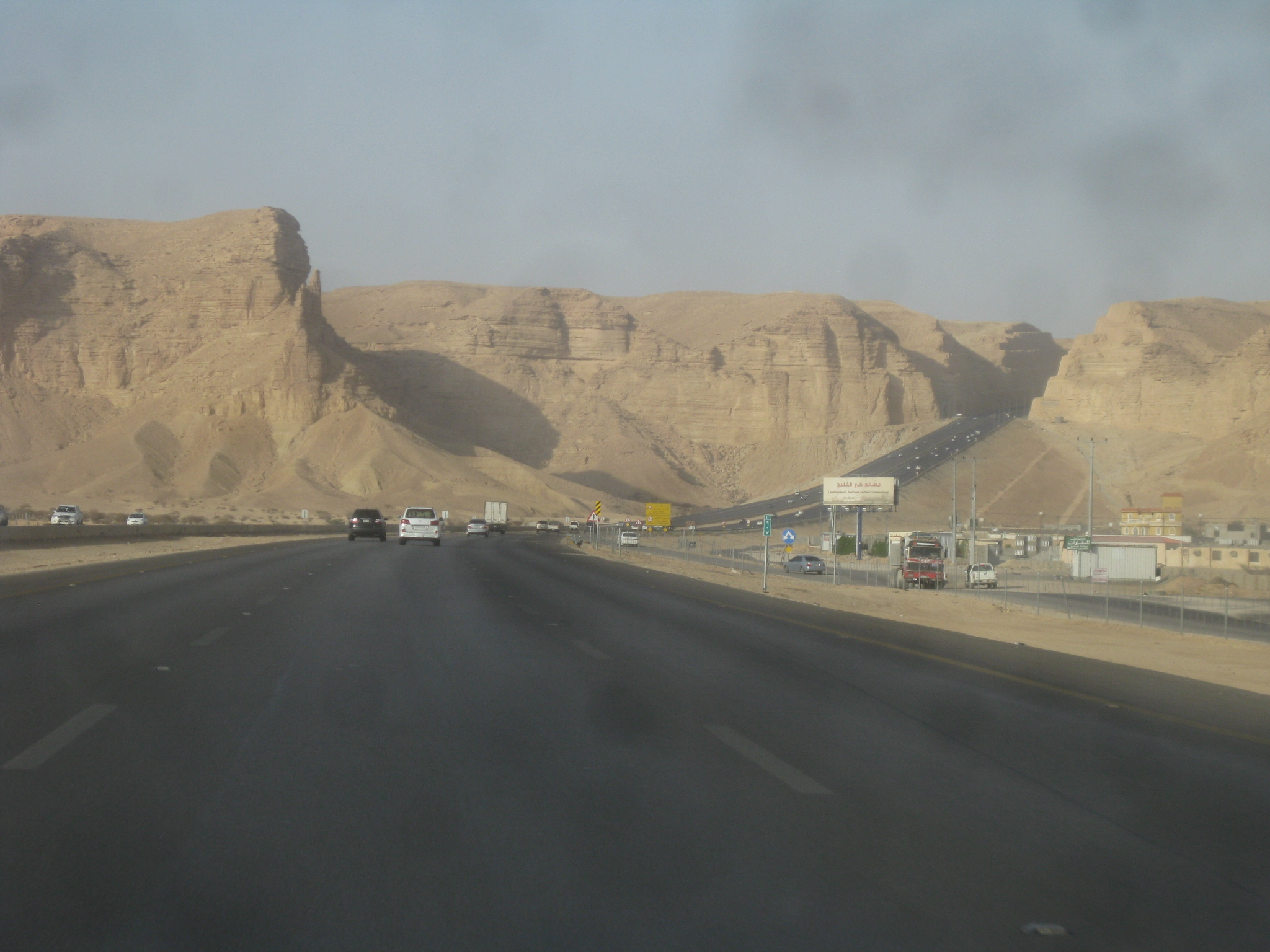 This is the main highway leading from the west up and into capital city Riyadh. A breathtaking view.