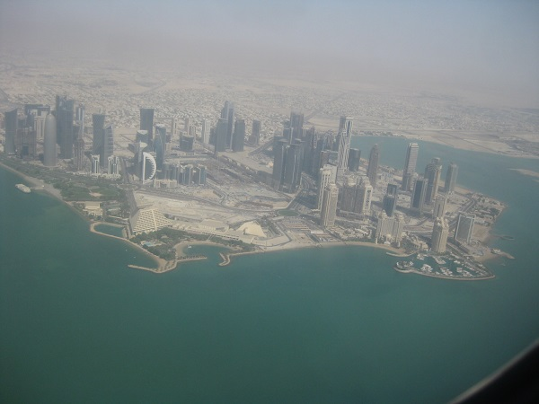 A birds eye view of the capital city Doha