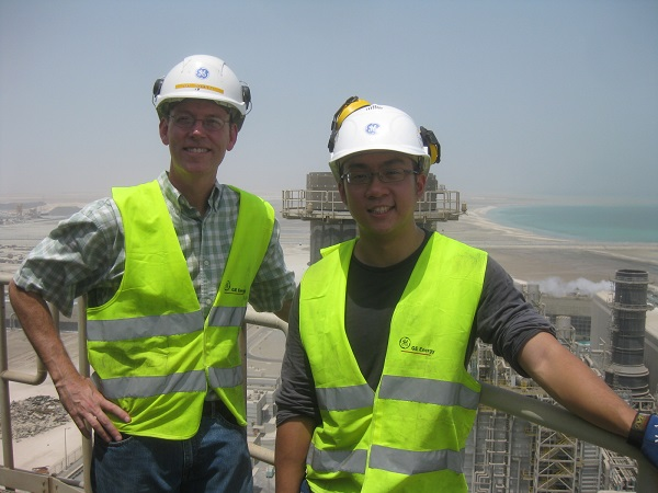 In keeping tradition to have a photo from the chimney of each plant, this shot is of me and JunYi from Singapore atop the Qatalum plant south of Doha