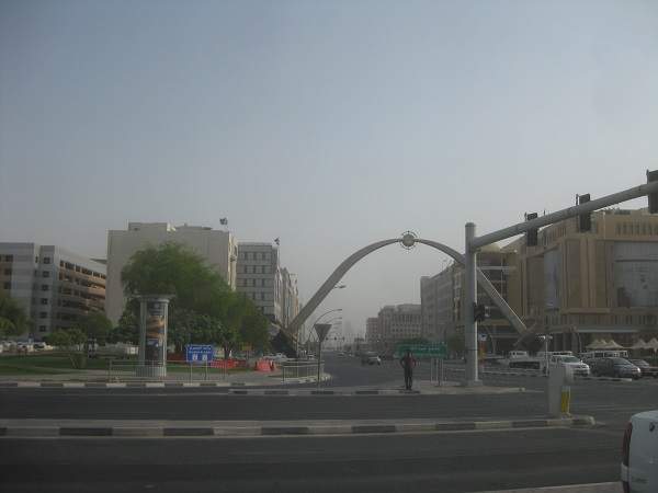 The crossing of the swords marks the entrance to teh kings palace in Doha