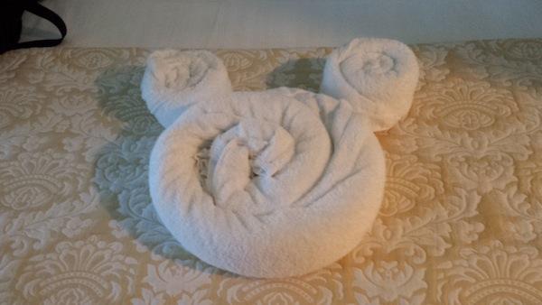 mickey towel in resort room
