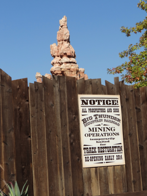 Big Thunder Mountain Railroad Refurbishment Sign