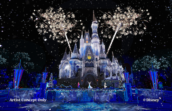 Magic Kingdom - Cinderella Castle - Frozen Holiday Concept -