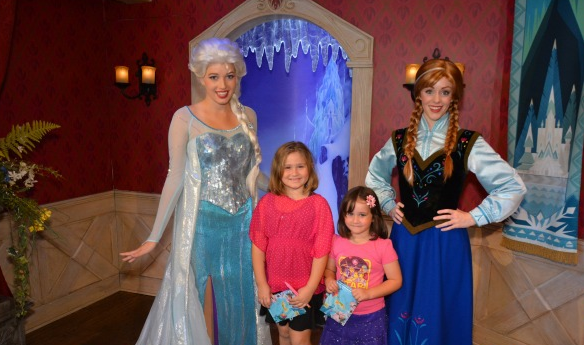 Anna and Elsa in Disneyland