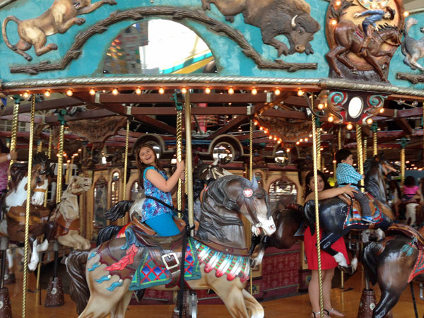 My daughter loved the beautiful antique carousel at Boomtown's Fun Center