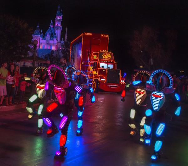 Mac the Truck and Crew in Paint the Night Paul HIffmeyer_Disneyland Resort)