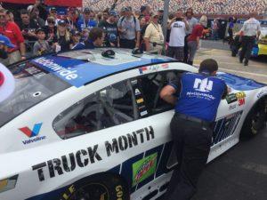 NASCAR race car on pit road